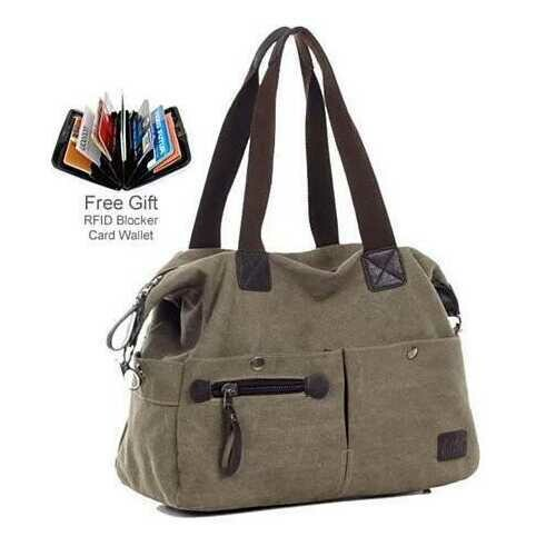 The Uptown Journey Canvas Hand Bag With FREE RFID BLOCKER WALLET - Color: Brown Town