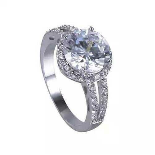 Love Struck Diamond Crystals Platinum Plated Halo Ring - Size: 10