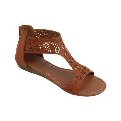 Crazy Daisies Summer Sandals -Color: Brown, Size: 6