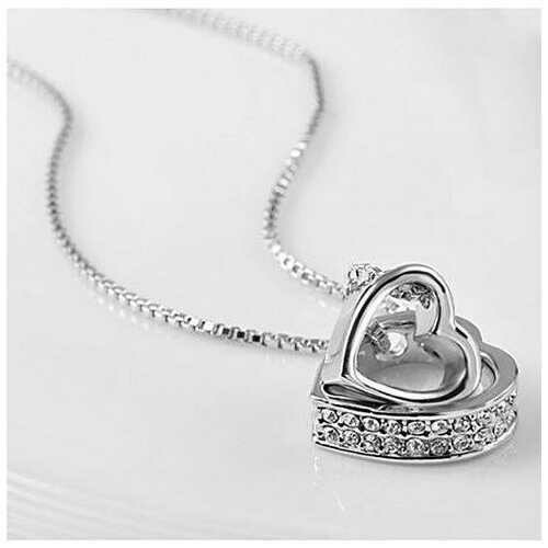 Hugging Hearts Pendant and Chain - Color: Silver w/ Pink Crystals