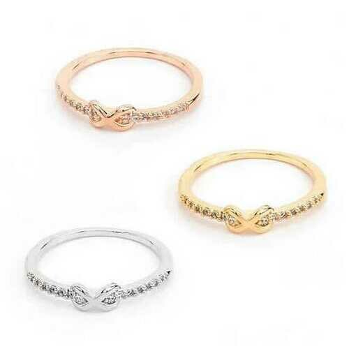Infinite Love Ring with parade of CZ Diamonds -Color: Rose Gold, Size: Ring Size - 7