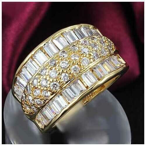 Regal Baguette And CZ Statement Band Ring -Color: Gold Plated, Size: Ring Size - 6
