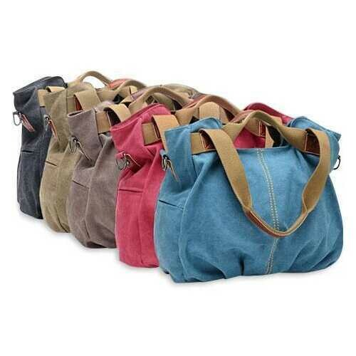 ARM CANDY Handy Natural Canvas Handbag - Color: Blueberry Crush