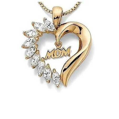 MOM's LOVE Heart Pendant With CZ - Color: Platinum Plated