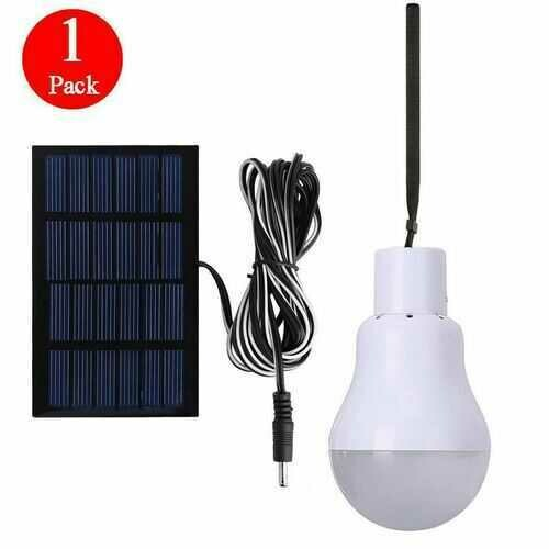 Solar Powered Panel LED Lighting System Lights 15W Portable Bulb Outdoor Indoor - Qty: 1 Pack