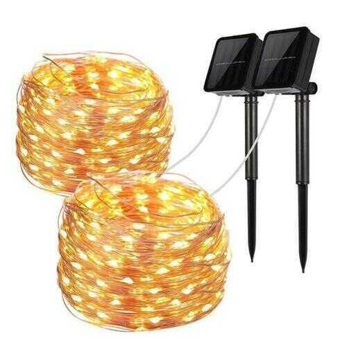 Mini Fiery 100 Lights Shine Like Firebugs With Solar Power - Color: YELLOW