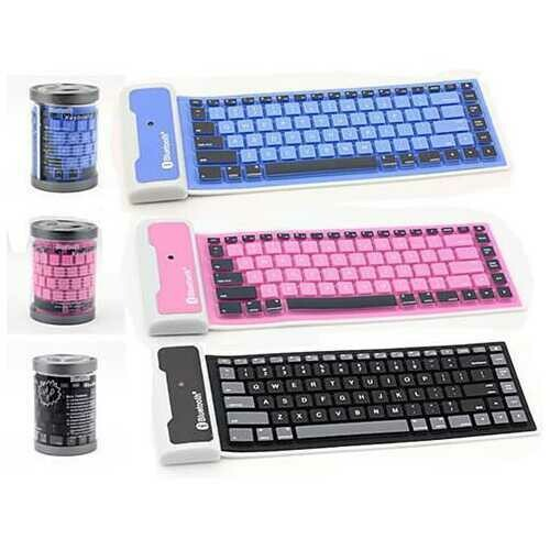 Type Out Of A Box With Flexible Silicone Bluetooth Keyboard - Color: Blue