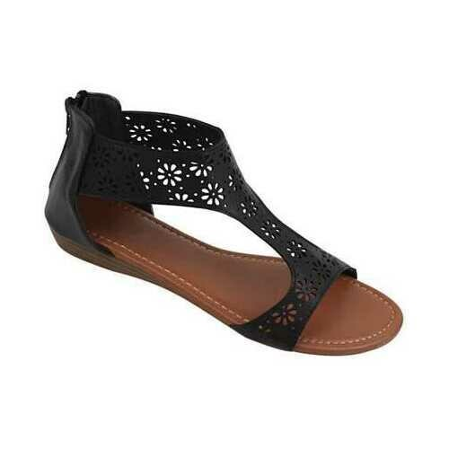 Crazy Daisies Summer Sandals -Color: Black, Size: 6