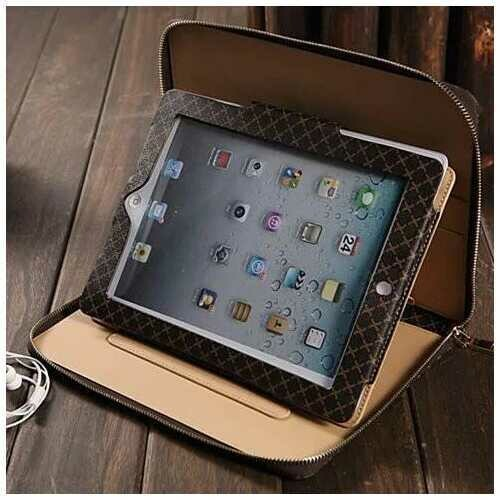 iPad Air and iPad mini Portfolio Wallet Case -Color: White, Style: iPad Air - 1/2