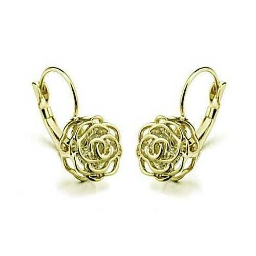 ROSE IS A ROSE 18kt Rose Crystal Earrings In White Yellow And Rose Gold Plating - Color: 18kt Yellow Gold Plt.