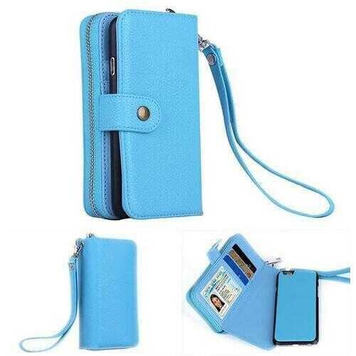 iPhone 6/6 Plus Clutch Purse with Detachable Phone Case -Color: Sky Blue, Style: iPhone 6 Plus