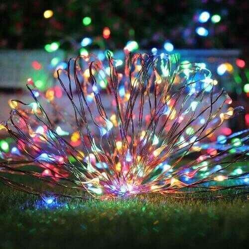 Mini Fiery 100 Lights Shine Like Firebugs With Solar Power - Color: MULTI COLOR