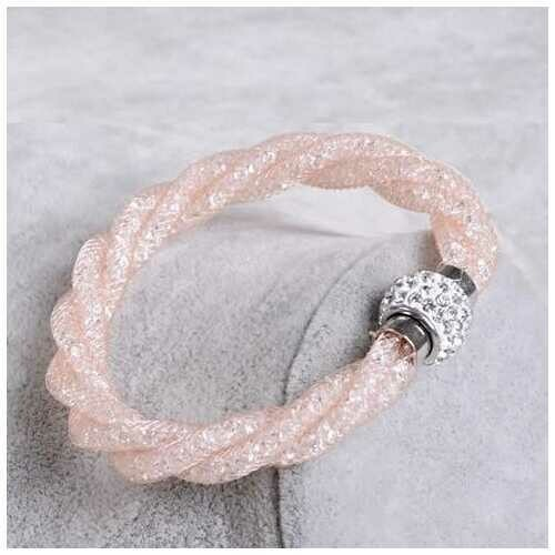 Rope Bracelet a Wire Mesh with Tiny Crystal loaded to form a Halo - Color: White Swan