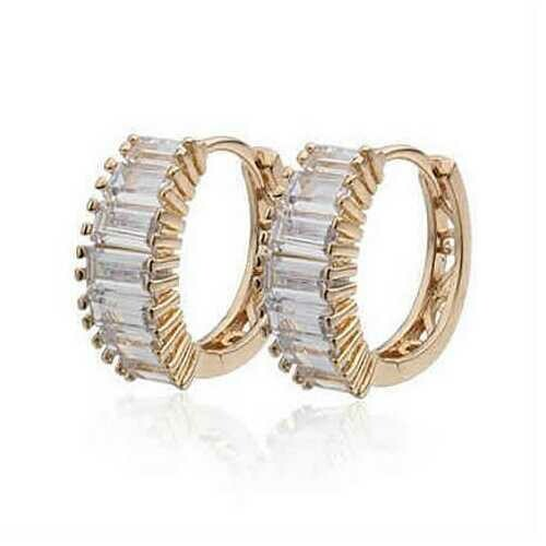 Shiny Baguettes Hoop Earrings in Baguette stones in White Gold - Color: White Gold