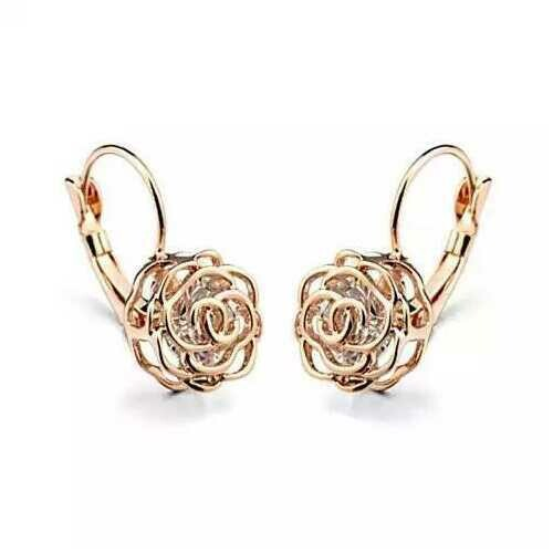 ROSE IS A ROSE 18kt Rose Crystal Earrings In White Yellow And Rose Gold Plating - Color: 18kt Rose Gold Plt.