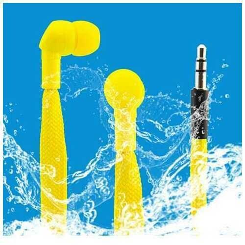 Shoe Lace Water Proof Earphones - Color: Yellow