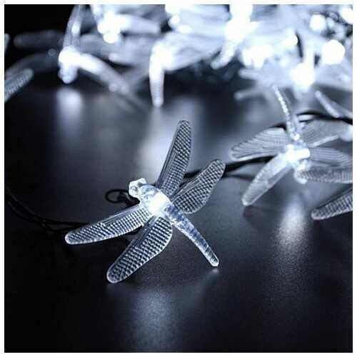 Solar Powered DragonFly LED Light String - Style: Bright White