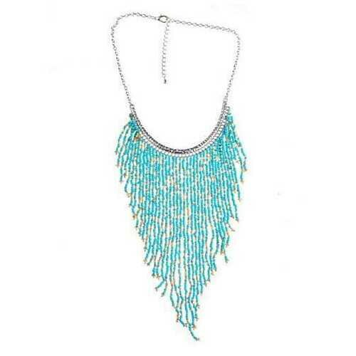 Bohemian Beads Waterfall Necklace - Color: Pink - Blue Beads