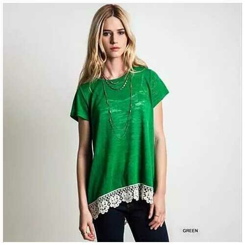 VIRINA Floral Lace Top -Size: Medium, Color: Green