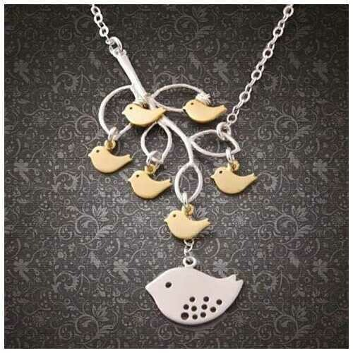 It's All In The Family 925 Sterling Silver Necklace - Style: Necklace With Mom + 2 Baby Sparrow