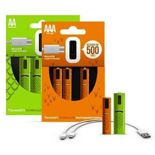 ECO Recharge 4 Pack AA Or AAA USB Rechargeable Batteries - Color: AA - 4 pack