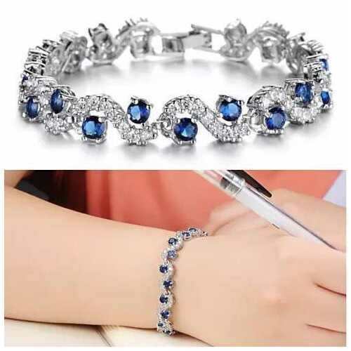 OCEANA Diamond Crystal Bracelets In White Gold Plating - Color: Serene Sapphire Crystals