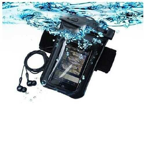 Waterproof Bag for you Smartphone with Music Out Jack and Waterproof Headphones - Color: Black