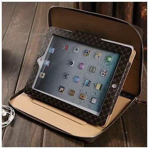 iPad Air and iPad mini Portfolio Wallet Case -Color: Gold, Style: iPad Air - 1/2
