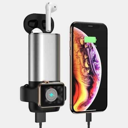 Porta 3 in 1 Wireless Charger For Apple Watch And Airpods Plus Phone - Color: BLACK