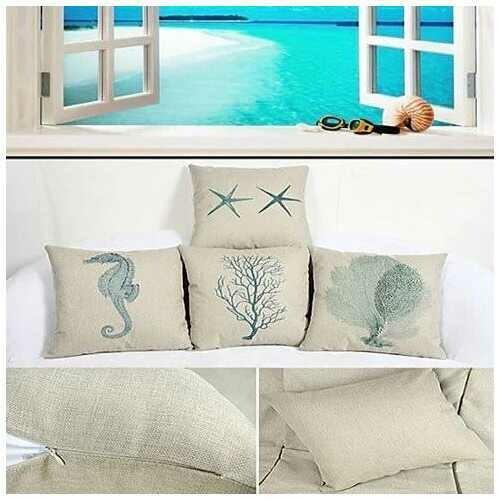 Coastal Charm Cushion Covers - Style: Seahorse