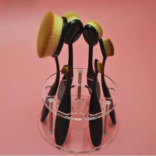 Vanity 6 Pc Oval Beauty Brushes With Caddy Organizer - Color: BLACK