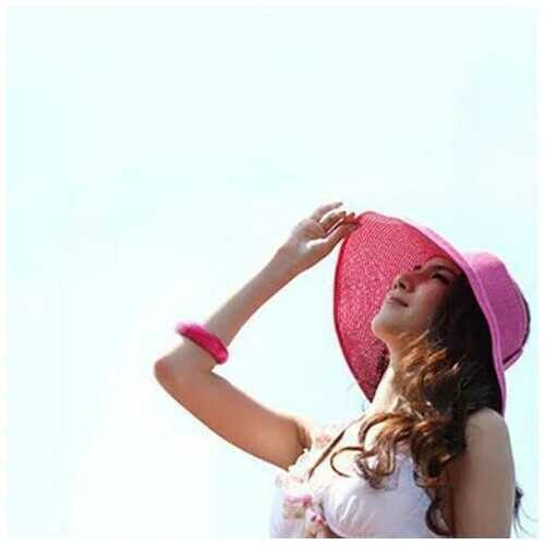 Sun Hut Straw Hat Cool And Foldable - Color: Black Shade