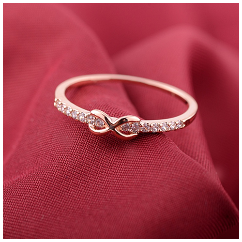 Infinite Love Ring with parade of CZ Diamonds -Color: Gold, Size: Ring Size - 7