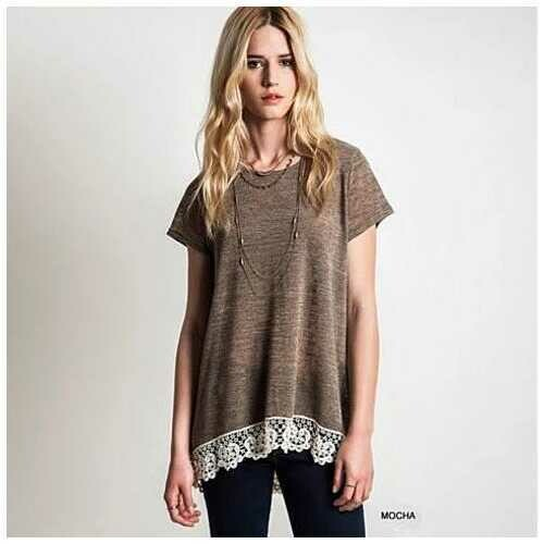 VIRINA Floral Lace Top -Size: Large, Color: Mocha