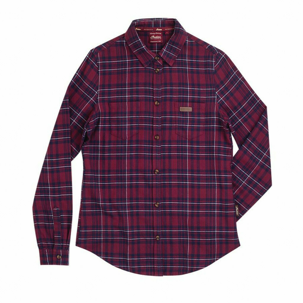 LONG SLEEVE PLAID SHIRT WOMENS RED