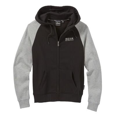 Contrast Sleeve Hoodie Sweatshirt, Black