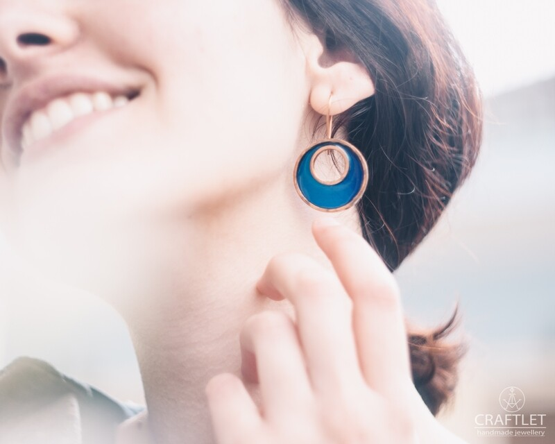 Sparkle Moon Resin Earrings