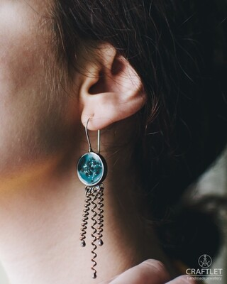Santorini Black Sand Beach | Blue Lagoon Drop Earrings