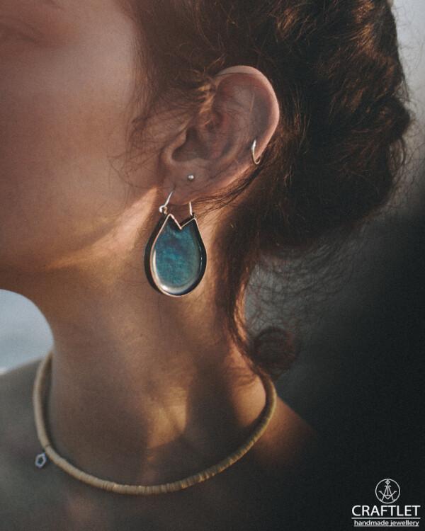 Sparkle Open Hoop Drop Earrings