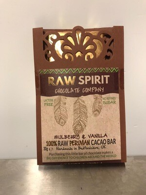 Raw Spirit Chocolate Company Mulberry & Vanilla Cacao Bar