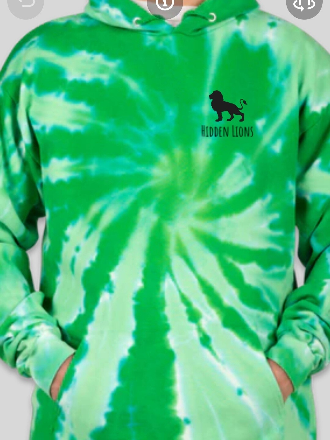 *Coming Soon* Hoodie Green Tie Dye - Back Sketched