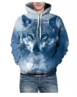 Hoodie Lightweight Blue - Wolf Full Print