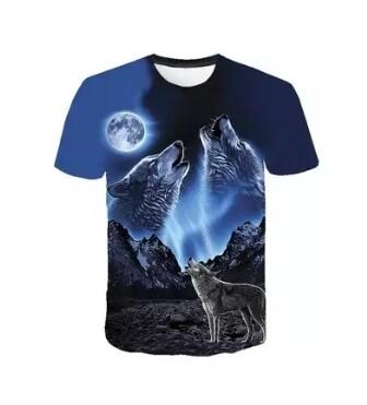 T-Shirt Blue - 2 Wolves Full Print