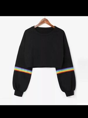 CropTop Black  - Rainbow Sleeve