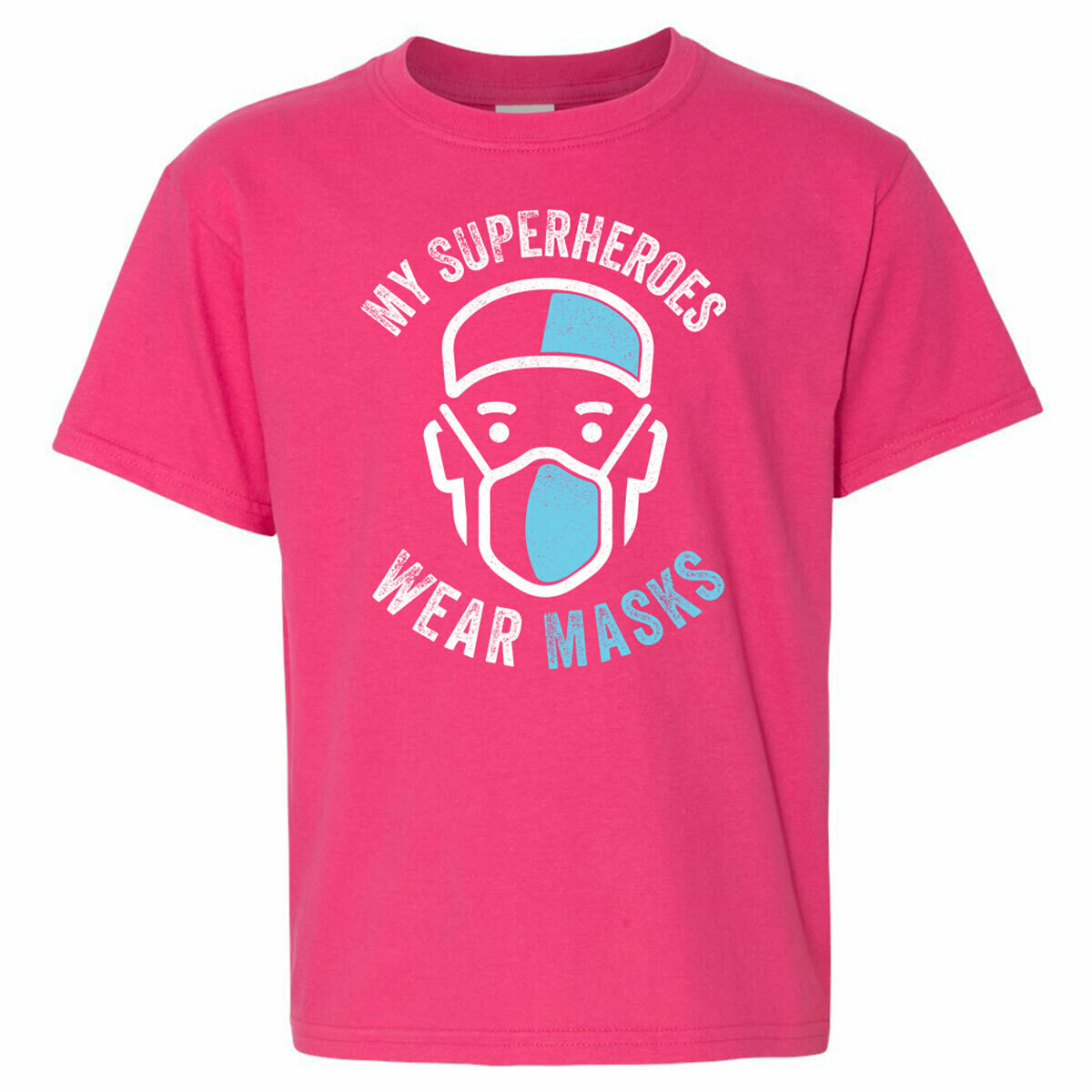 Youth Tee - My Superheroes Wear Masks - Pink