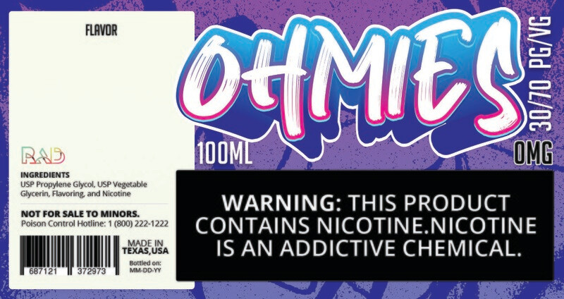 Ohmies 30/70 e-Juice (0mG)