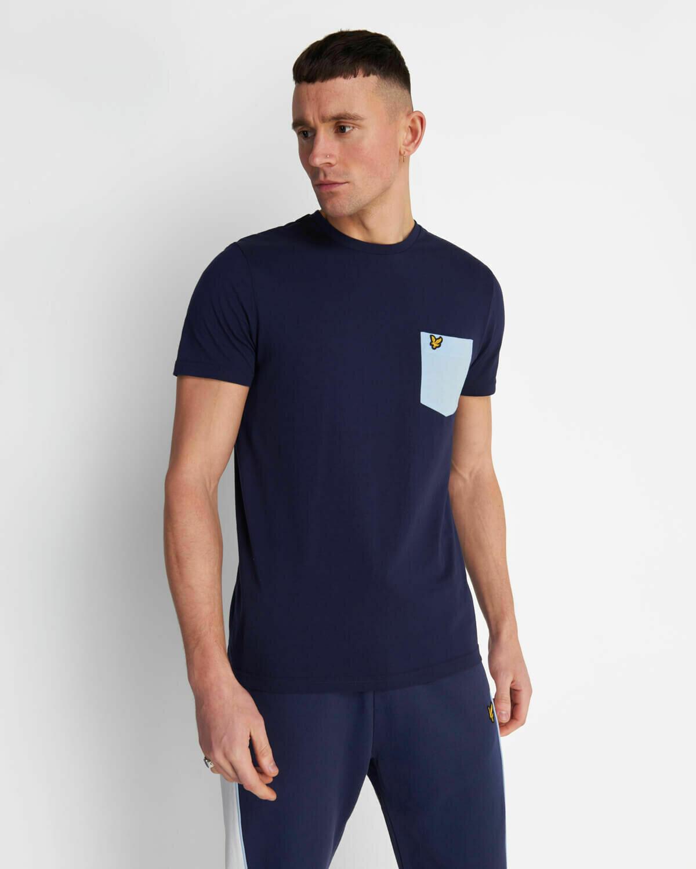 Lyle & Scott   Contrast Pocket T Shirt - Navy / Pool Blue