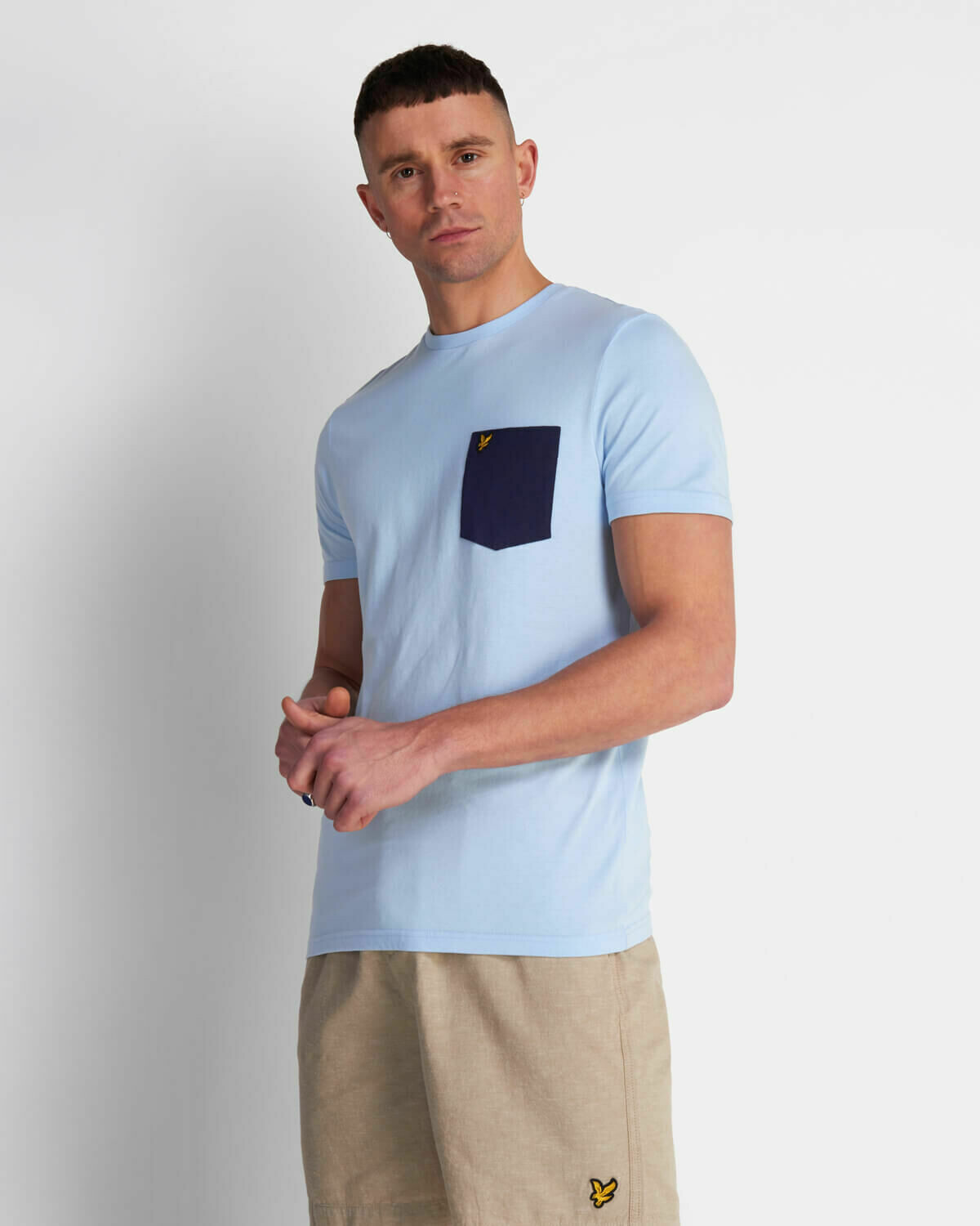 Lyle & Scott | Contrast Pocket T Shirt - Pool Blue / Navy