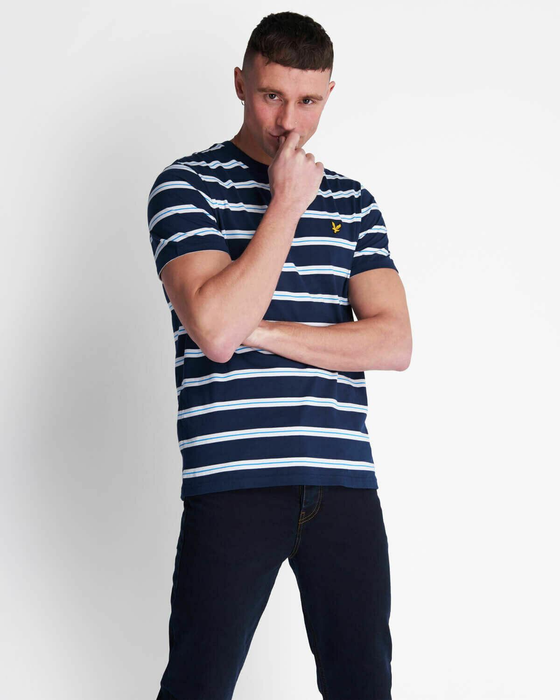 Lyle & Scott | Wide Double Stripe T-Shirt - Navy