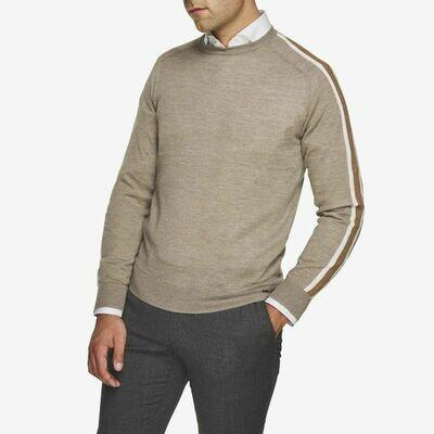 Gentiluomo | trui contrast mouw | beige melange`